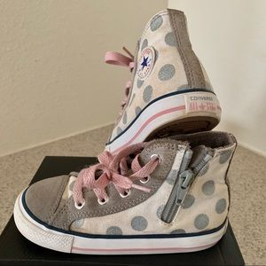Kids Converse with Gray Polka